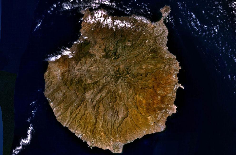 Satellitkarta över Gran Canaria